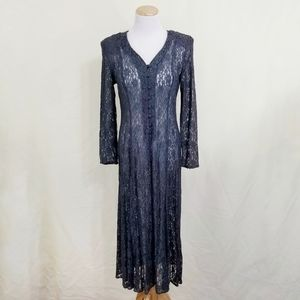 Vintage 90s lace dress button down dark gray long